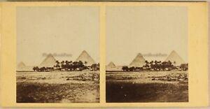 Egitto-Piramidi-Da-Gizeh-Ca-1860-Foto-Stereo-Vintage-Albumina