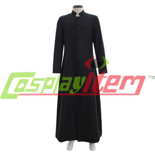 Roman Black Priest Cassock Robe Gown Clergyman Vestments Medieval Ritual Robe#58