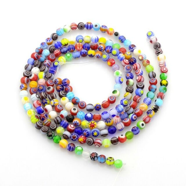 95 beautiful millefiori coloured glass spacer beads 4mm Posted from Melbourne