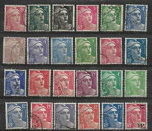 L091 Lot 24 Timbres Marianne de GANDON 1945 1947 1948 1949 1951 1954