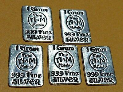 (5)  999 Silver 1 Gram Bars / Ingot - A&M Fine Metals - Bullion Private  Mint AG   eBay