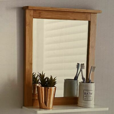 Wooden Bathroom Wall Mirror With Shelf