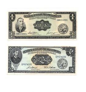 CRISP UNC NOTES PHILIPPINES 1949 ENGLISH SERIES TYPE SET 1-2-5-10-20 /& 50 PESO