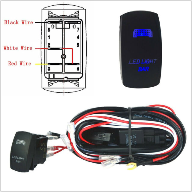 Blue LED LIGHT BAR Toggle Rocker Switch for ATV Boat Relay Wiring Harness Kit