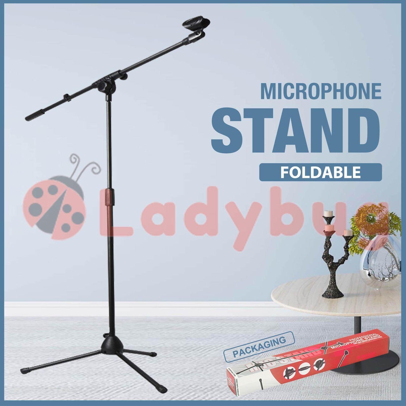 Telescopic Boom Microphone Stand Adjustable Mic Holder Tripod