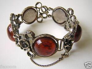 Massives Antik Armband Mit Cognac Bernstein 800 Silber 59,2 G Amber Bracelet Feines Handwerk