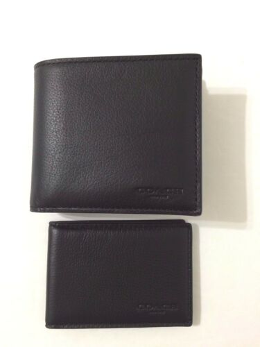 NWT Coach F74991 Men/'s Compact ID Leather Wallet Black Saddle $175