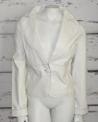 MARGARET GODFREY~WHITE~SOFT LEATHER~V-NECK~BLAZER STYLE~DRESSY FORMAL JACKET~12