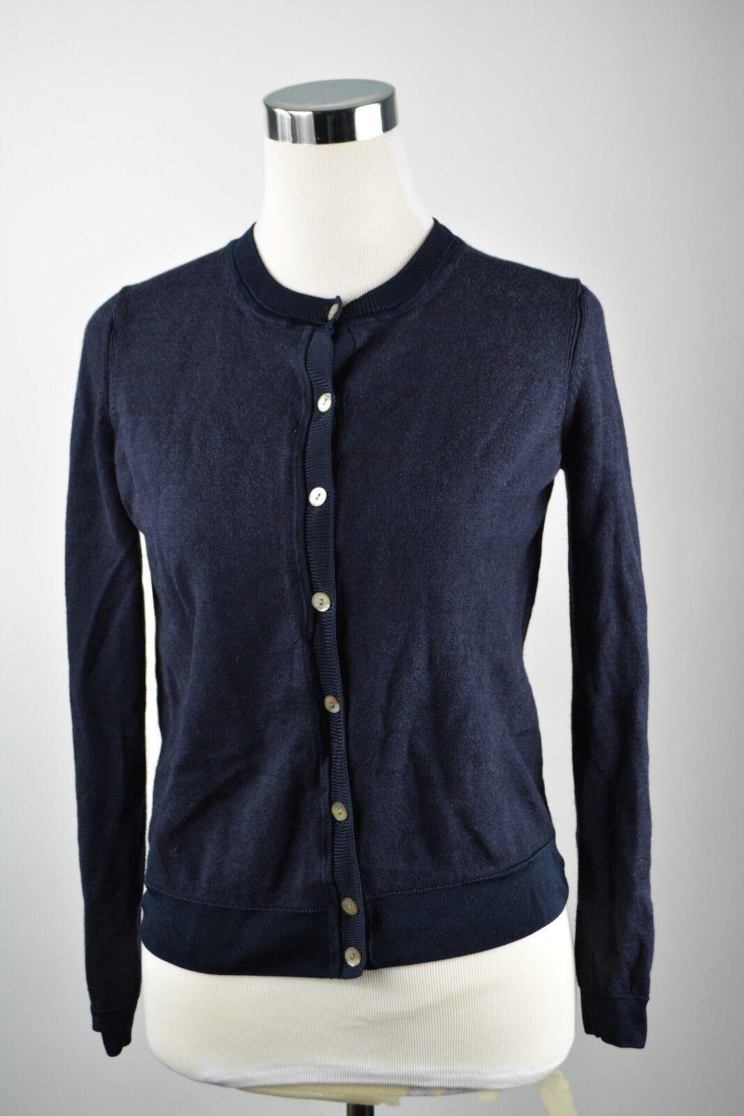 St. Johns Button Down Long Sleeve Cardigan Wool Silk Blend Navy bluee Career S