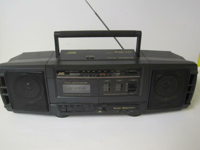 Vintage JVC Portable Am FM Radio Cassette Super Bass Horn Boombox PC 111