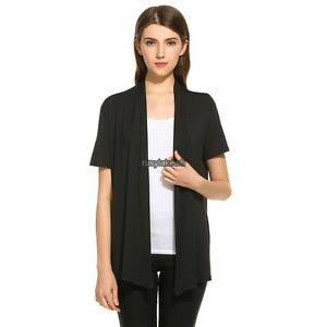Women's Short Sleeve Open Front Soft Basic Solid Draped Thin ...