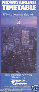 Airline Timetable - Midway - 15/12/84 - New York Skyline cover