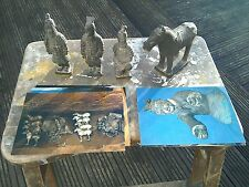 FOUR CHINESE TERRACOTTA TOMB FIGURES AND POSTCARDS FROM THE EXHIBITION