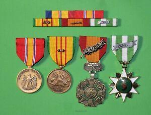 MARINE-CORPS-VIETNAM-4-MEDALS-MOUNTED-5-RIBBON-BAR-USMC-2-Campaign-Stars