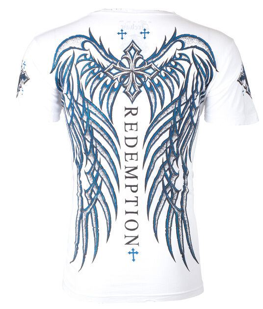 ARCHAIC by AFFLICTION Mens T-Shirt SPINE WINGS Motorcycle WHITE Biker UFC $40