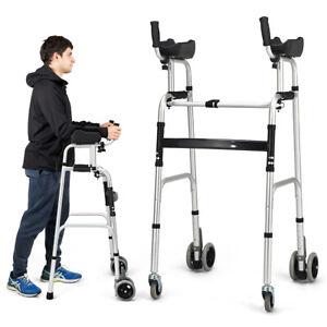 Foldable Standard Walker Aluminum Alloy Walking Frame w/ Armrest Pad & Wheels