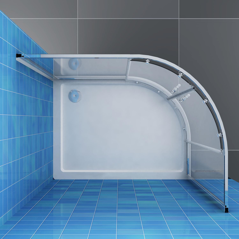 800x1000x1900mm Corner Round Shower Screen Enclosure Offset Quadrant ...