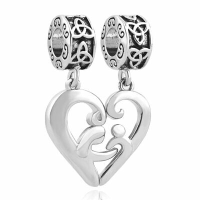 Mom Mother Daughter Son Love Heart Charm Can Use With