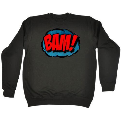 BAM Comic Design Funny Geek Nerd Cartoon Graphic Novels Superhero SWEATSHIRT