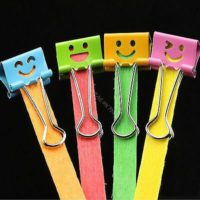 10X Smiling Office 19mm Width Metal Binder Clips Impression File Paper Organizer