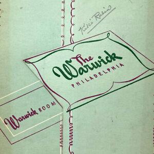 Vintage 1946 The Warwick Room Restaurant Menu Philadelphia Pennsylvania