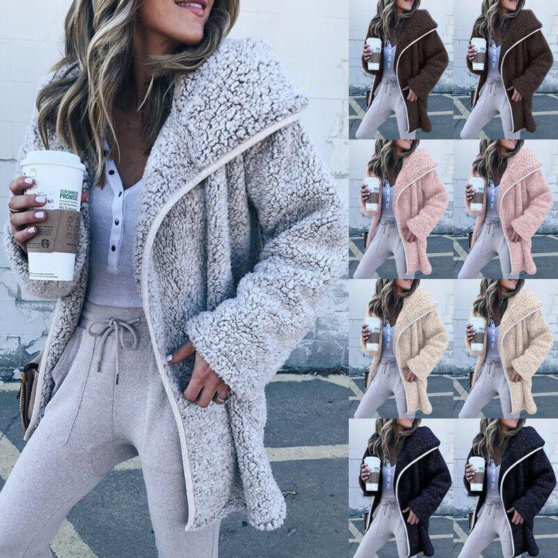 UK Womens Winter Fluffy Fleece Jacke Mantel Strickjacken Mit Kapuze Zip UP Pocket Jumper