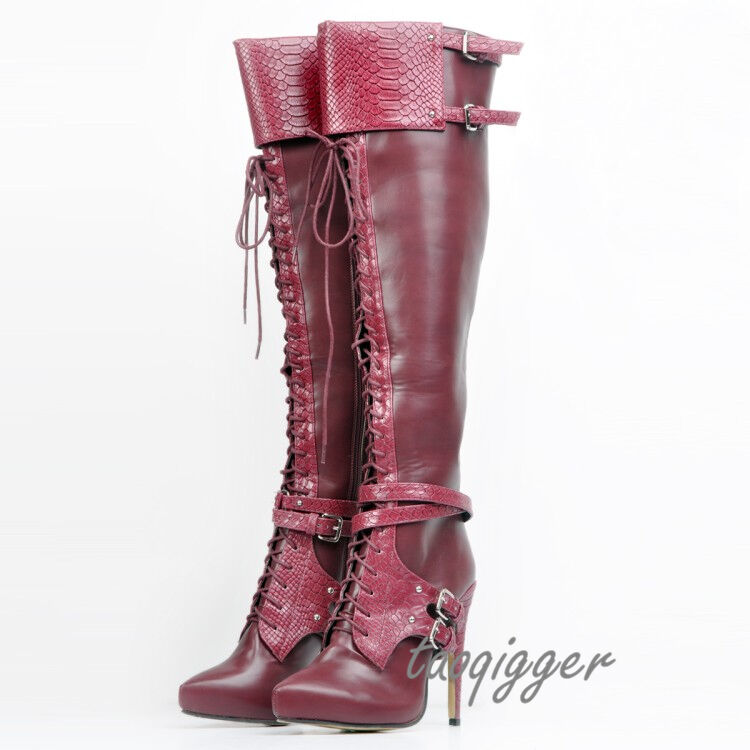 PUNK WOMENS LEATHER OVER KNEE HIGH BOOTS PLUS SIZE STRAP KNIGHT BOOTS POINTY TOE