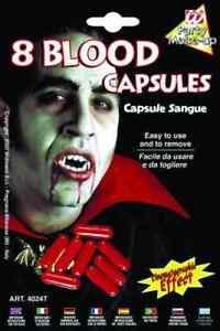 BLUT 8 Kapseln für VAMPIR & Graf DRACULA, Blutkapseln für Fasching GRUSEL HORROR