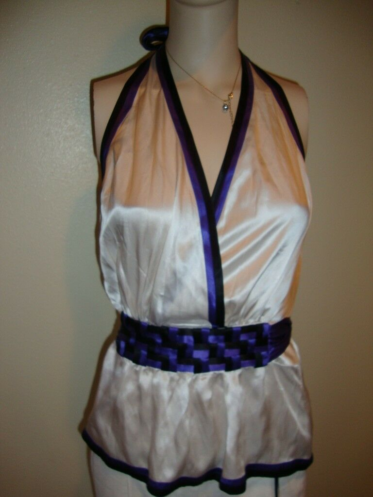 NWT BEBE BELTED DEEP CUT HALTER TOP BLOUSE SIZE M