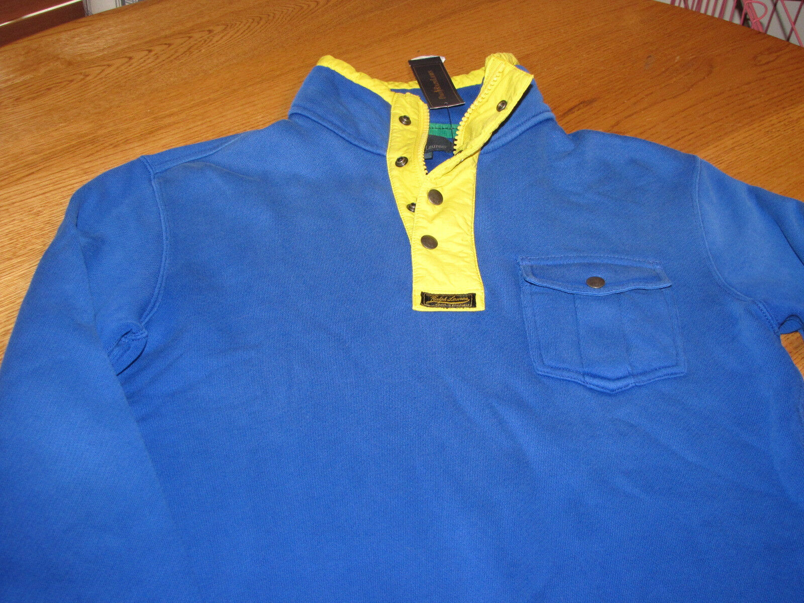 Mens Polo by Ralph Lauren M medium bluee fleece shirt  0477874 1 2 zip 3