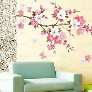 Huge-Pink-Peach-Blossom-Tree-Butterflies-Wall-Stickers-Girls-Room-Lounge-Decals