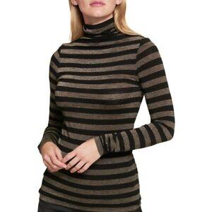 TOMMY-HILFIGER-Women-039-s-Metallic-Striped-Turleneck-Casual-Shirt-Top-TEDO