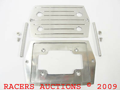 Optima 35 Polished Aluminum Battery Tray w// Ball Milled Top Red Yellow D35