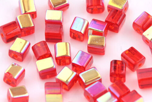 50//100pcs Faceted Square Cube Verre Cristal Loose Spacer Beads Charm Finding 6 mm