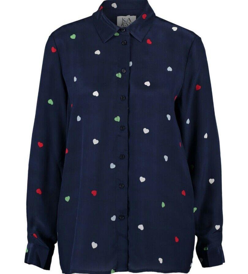BNWT-ZOE KARSSEN-Camicia in Seta Blu Scuro Cuore-Taglia M-RRP