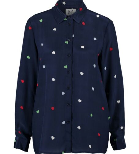Heart Shirt Size Bnwt M £230 Navy Silk Zoe Karssen Rrp xUBBXIp