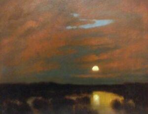 Moonrise Reflections Marsh Impressionism Landscape Art Oil Painting Tonalism