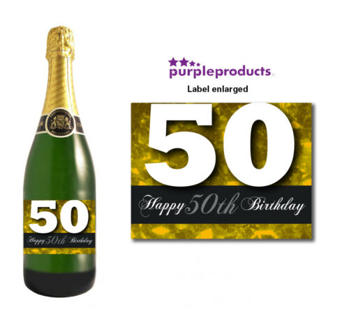 Gold Happy 50th Birthday Glossy Wine /& Champagne Bottle Gift Present Label
