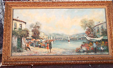Antique painting on canvas,Italian vintage painting and original frame