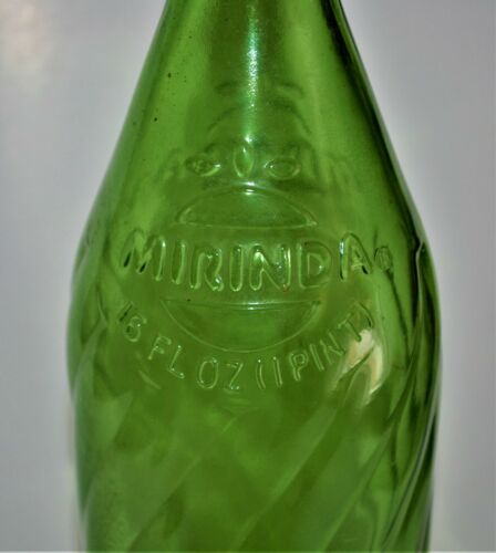 1978 Rare Pepsi Mirinda Bottle Green Swirl No Deposit 16 Oz Bird Swing Inside