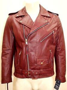 Brando Mens Classic Biker Fitted Designer Style Cherry Red Hide
