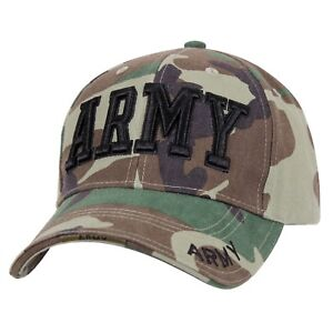 ARMY EMBROIDERED WOODLAND CAMO LOW PROFILE BASEBALL CAP 613902139084 ... a3a49b0822cc