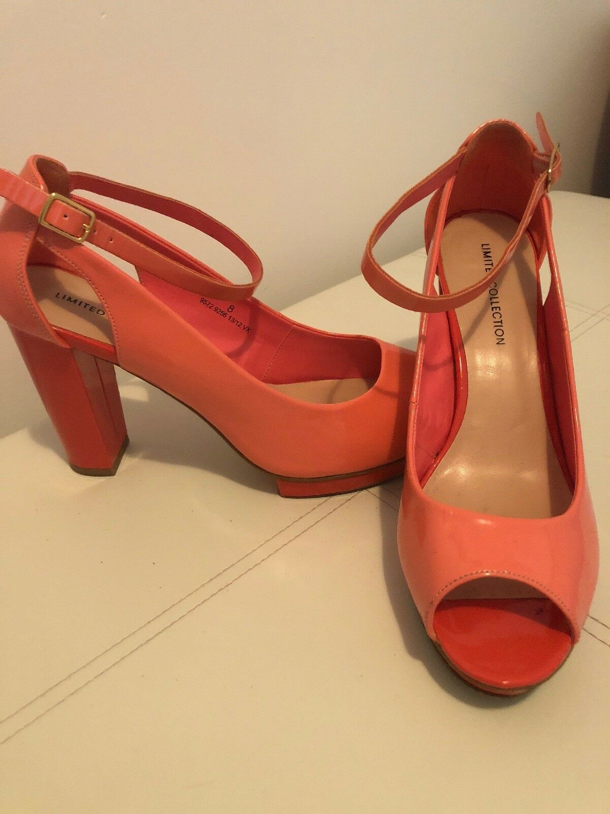 M&S  Limited Edition Two toe Tone Pink Patent Peep toe Two Court Shoe With Ankle Strap 8 fc7d6e
