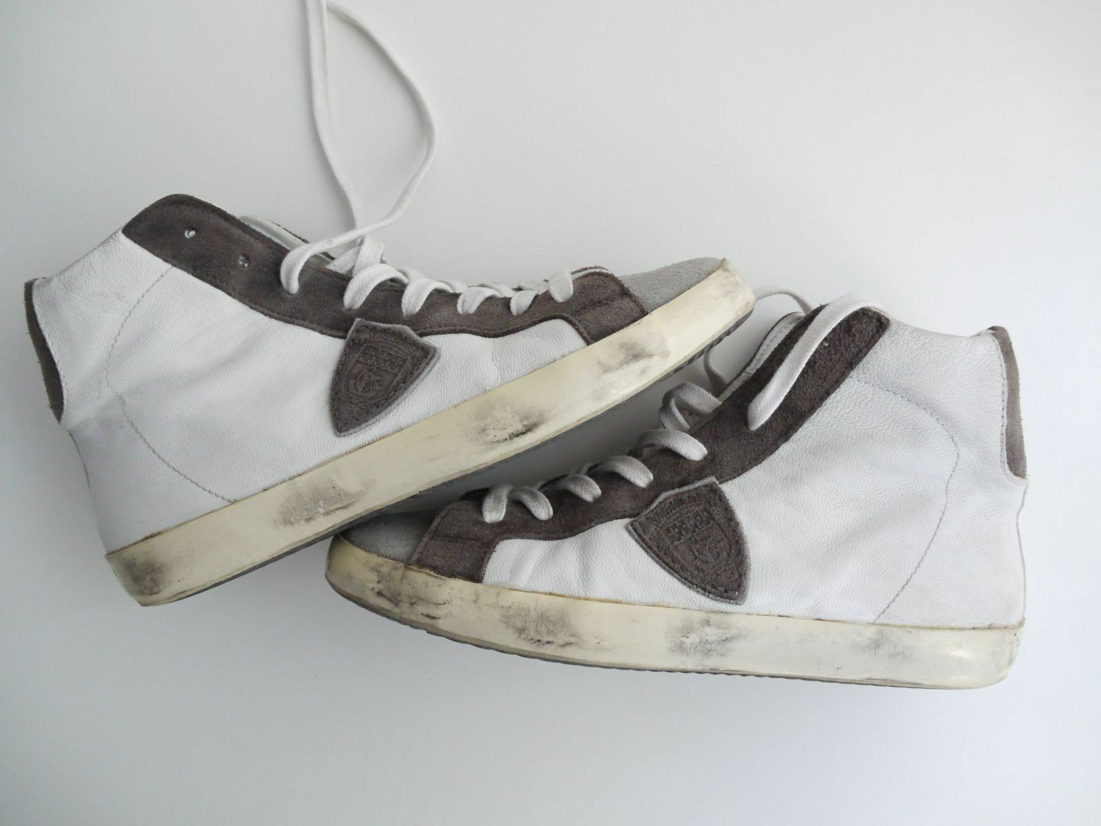PHILIPPE MODEL High - Top Sneaker // weiss - High grau // Gr. 39 // Leder Mix NP 295 E 75af6d