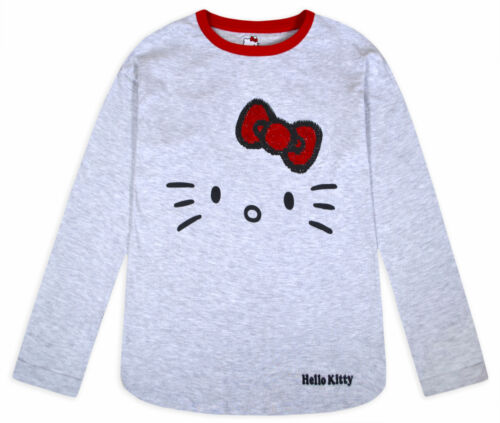 Girls Hello Kitty Top Kids New Cotton Long Sleeve Sequin T-shirt Ages 3-14 Years