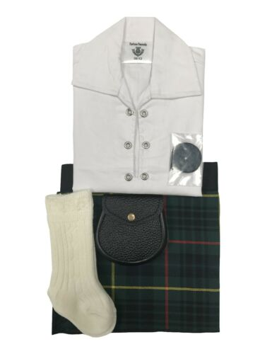 Baby Adjustable Tartan Kilt Outfit Shirt Sporran In Various Colours Hose