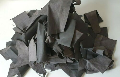 2 Kg Dark Grey Leather Offcut Scrap Ends for Clothing or Furniture /& Car Repairs