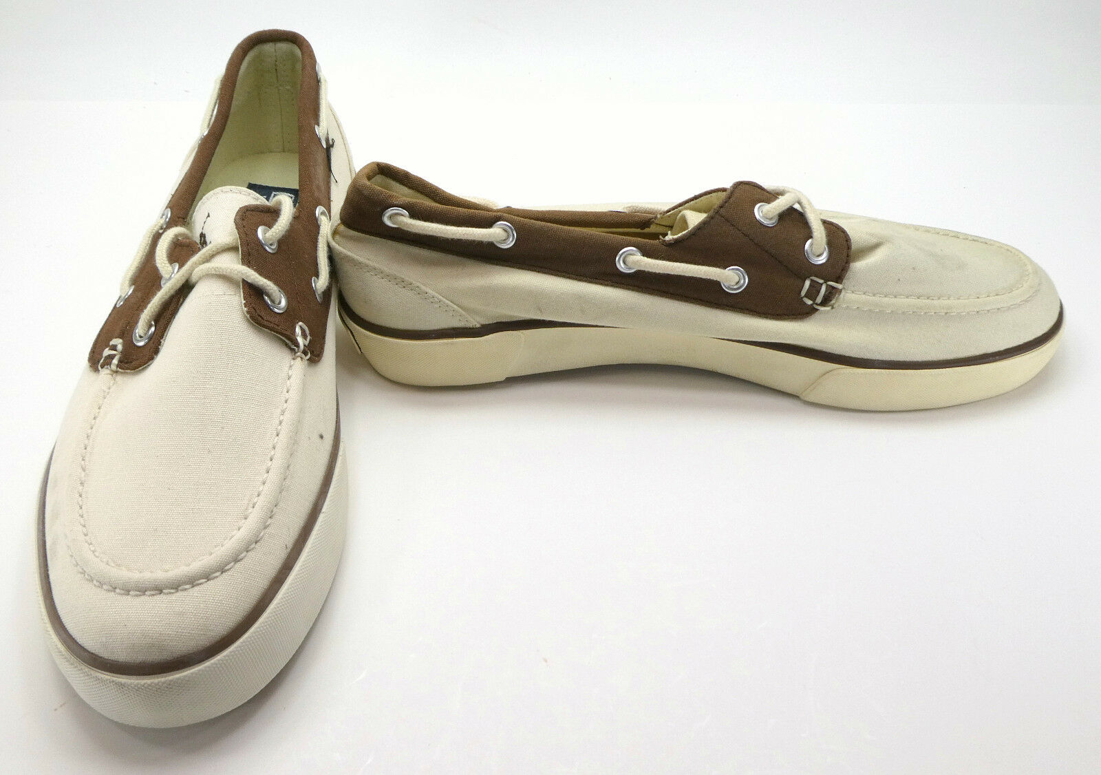 f1c17942b4b Ralph Lauren Boat shoes Lander Canvas Khaki Beige Brown Topsiders ...