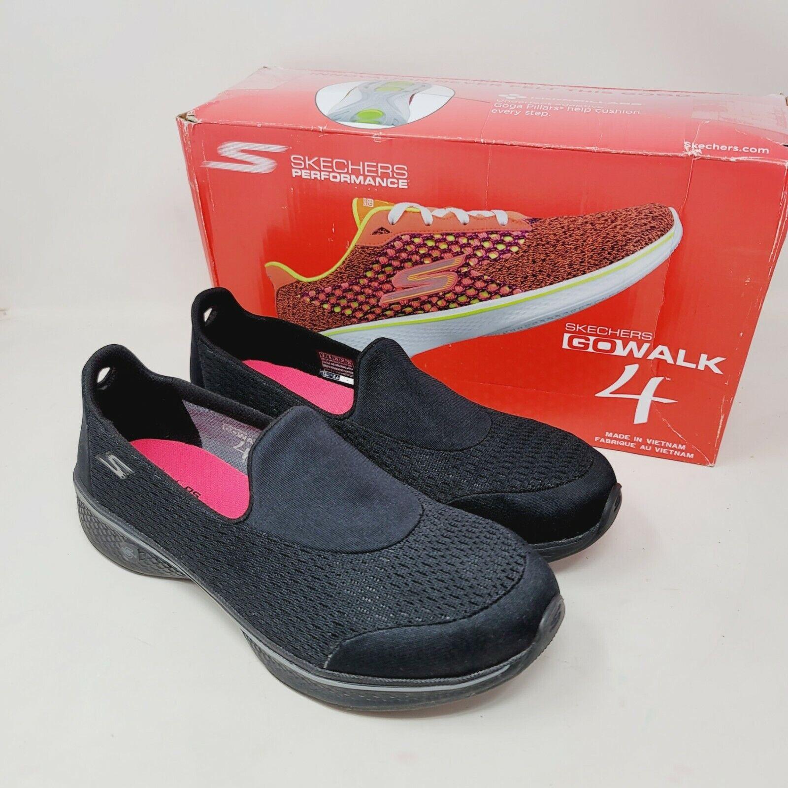 Skechers Go Walk 4 Performance Womens Shoes Gray Goga Max Slip On Comfort Size 9