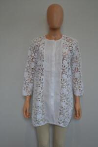3988bc4e8a Ermanno Scervino White Cotton Linen Floral Lace Tunic Beach Cover-Up ...